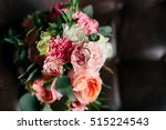 bouquet of pink flowers  white... | Shutterstock . vector #515224543