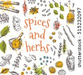 spices and herbs card. hand... | Shutterstock .eps vector #515232097