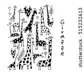 giraffes collection  sketch for ... | Shutterstock .eps vector #515232613