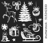 christmas retro sketch doodles... | Shutterstock .eps vector #515242333