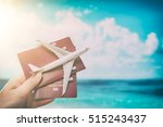 airplane passport flight travel ... | Shutterstock . vector #515243437