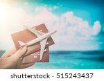 airplane passport flight travel ... | Shutterstock . vector #515243437