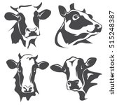 Stock vector cow head portrait set of stylized vector symbols 515248387