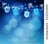 hanukkah blue background with... | Shutterstock .eps vector #515252443