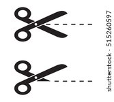 scissors with cut lines icon... | Shutterstock .eps vector #515260597