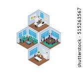 isometric office vector... | Shutterstock .eps vector #515263567