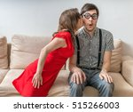 shy man is surprised by kiss... | Shutterstock . vector #515266003