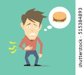Hungry Man Vector Cartoon
