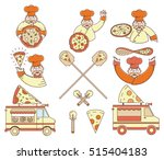 vector colored pizza bundle for ... | Shutterstock .eps vector #515404183
