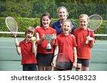 victorious school tennis team... | Shutterstock . vector #515408323