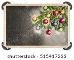 retro style christmas card with ... | Shutterstock . vector #515417233