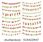 set of christmas buntings and... | Shutterstock . vector #515423947