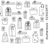 seamless christmas pattern with ... | Shutterstock . vector #515423977