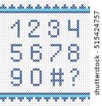 set of cross stitch numerals.... | Shutterstock . vector #515424757