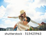 young couple having fun piggy... | Shutterstock . vector #515425963