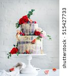 wedding cake with flowers  figs ... | Shutterstock . vector #515427733