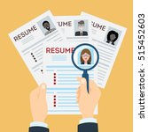 woman resume with magnifier at... | Shutterstock . vector #515452603