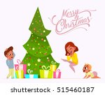 merry christmas. happy children ... | Shutterstock .eps vector #515460187