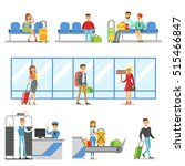 people in the airport interior  ... | Shutterstock .eps vector #515466847
