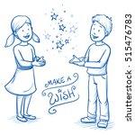 christmas  happy children  girl ... | Shutterstock .eps vector #515476783