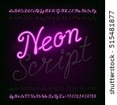 neon script hand drawn alphabet ... | Shutterstock .eps vector #515481877