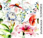 floral seamless pattern ... | Shutterstock . vector #515490853
