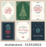 ornate merry christmas greeting ... | Shutterstock .eps vector #515510023