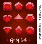 Set Of Realistic Red Gems Of...