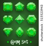 set of realistic green gems of...   Shutterstock .eps vector #515523943