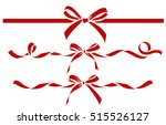 set of decorative red bows with ... | Shutterstock .eps vector #515526127