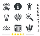 tractor icons. wreath of wheat... | Shutterstock .eps vector #515537953