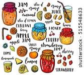set of hand drawn fruits ... | Shutterstock . vector #515548633