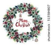 watercolor christmas boho... | Shutterstock . vector #515584807