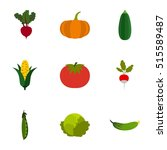 farm vegetables icons set. flat ... | Shutterstock .eps vector #515589487