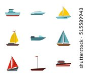 boat icons set. flat...