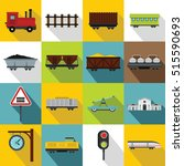 transport train station icons... | Shutterstock .eps vector #515590693