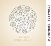 aids card. world aids day... | Shutterstock .eps vector #515598637