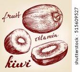 fruit kiwi set hand drawn... | Shutterstock .eps vector #515609527