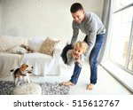 happy father playing with his... | Shutterstock . vector #515612767