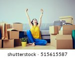happy young woman moving to new ... | Shutterstock . vector #515615587
