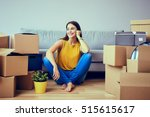 beautiful young woman moving to ... | Shutterstock . vector #515615617