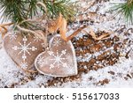 Wooden Hearts On Snow Covered...