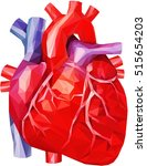 realistic heart in low poly | Shutterstock .eps vector #515654203