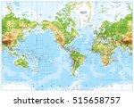 Physical World Map America...