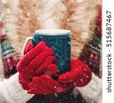female hands holding knitted... | Shutterstock . vector #515687467