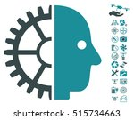 cyborg head icon with bonus... | Shutterstock .eps vector #515734663