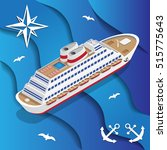 cruise liner on the waves....   Shutterstock .eps vector #515775643