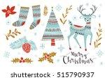 christmas set. template for... | Shutterstock .eps vector #515790937