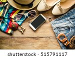 travel clothing accessories... | Shutterstock . vector #515791117