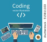 programmer  coder in the... | Shutterstock .eps vector #515811103